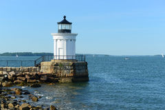 De Golfbrekervuurtoren van Portland, Maine Stock Afbeelding