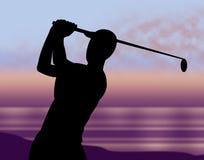 De golfcursus wijst Golfclub op Recreatie en Golfspeler vector illustratie