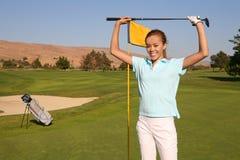 De Golfspeler van de vrouw Stock Fotografie