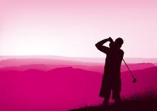 De golfspeler van de zonsondergang Stock Afbeelding