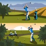 De golfspeler zal de bal naar het gat raken royalty-vrije illustratie