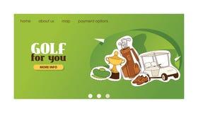 De golfspelerssportkleding van de golf vectorwebpagina en golfball voor het spelen in de illustratiereeks van de golfclubachtergr vector illustratie