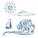 De golven, de wolken en de zon van de boot Stock Foto
