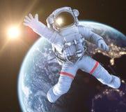De golvende 3d Astronaut, geeft terug vector illustratie