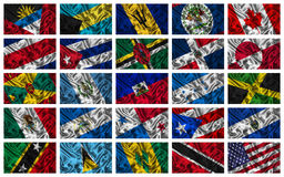 De golvende kleurrijke vlaggen van Noord-Amerika Royalty-vrije Stock Fotografie
