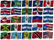 De golvende kleurrijke vlaggen van Noord-Amerika Stock Afbeelding