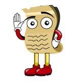 De golvende mascotte van het beeldverhaalperkament Royalty-vrije Stock Fotografie