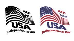 De golvende nationale vlag van de V.S. met 4 Juli-tekenvector Stock Foto's