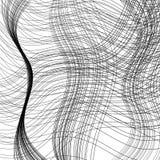 De golvende strepen roteerden willekeurig, overlappend, in geschetst, in zwart-wit zwart-wit Stock Foto