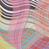 De golvende strepen roteerden willekeurig, overlappend, in pastelkleuren Royalty-vrije Stock Afbeelding