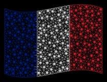 De golvende Vlag Mesh Illustration van Frankrijk met Gloedeffect royalty-vrije illustratie
