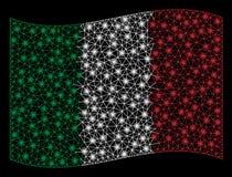 De golvende Vlag Mesh Illustration van Italië met Lichteffect royalty-vrije illustratie