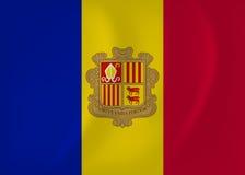 De golvende vlag van Andorra royalty-vrije illustratie