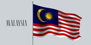 De golvende vlag van Maleisië op vlaggestok vectorillustratie stock illustratie