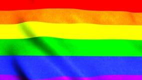De golvende vlag van de regenboog vrolijke regenboog op wind, 3d teruggevende achtergrond, geproduceerde computer vector illustratie