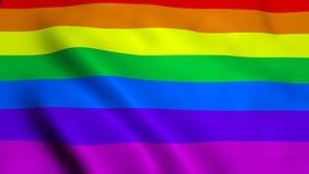 De golvende vlag van de regenboog vrolijke regenboog op wind, 3d teruggevende achtergrond, geproduceerde computer stock illustratie