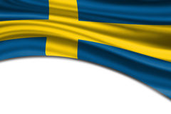 De golvende vlag van Zweden Stock Afbeeldingen