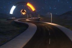 De golvende weg en de ronde magische ingang, het 3d teruggeven royalty-vrije illustratie