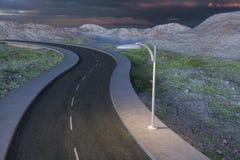 De golvende weg in de verlaten voorsteden, het 3d teruggeven stock illustratie