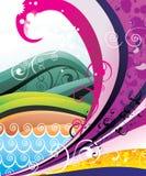 De golvenvector van de kleur Stock Fotografie