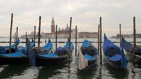 De gondelboten van Venetië stock video