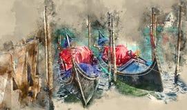De gondeldienst in Venetië Italië royalty-vrije illustratie