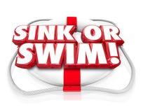 De gootsteen of zwemt 3d Preserver van het Woordenleven Onafhankelijkheid doet of sterft Test Stock Afbeelding