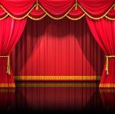 De Gordijnen van het theater met achtergrond Royalty-vrije Stock Foto's