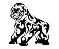 De gorilla vormde zwart-wit vector illustratie