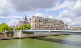 De gotische katholieke Kathedraal van Notre Dame de Paris Stock Foto's