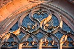 De gotische munster van vensterfreiburg-im-breisgau Stock Afbeeldingen