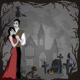 De gotische partij van Halloween met vampierpaar, pretachtergrond voor verschrikkingsuitnodiging op flirt cosplay, draculatanden  Stock Fotografie