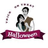 De gotische partij van Halloween met vampierpaar, pretachtergrond voor verschrikkingsuitnodiging op flirt cosplay, draculatanden  Stock Afbeeldingen