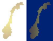 De goud Gestippelde Kaart van Noorwegen stock illustratie