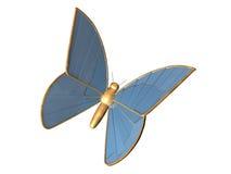 De gouden 3d vlinder van blauw chromeplated metaal Stock Foto