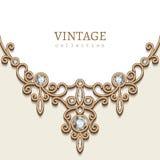 De gouden achtergrond van de juwelenhalsband Royalty-vrije Stock Afbeeldingen