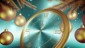 De gouden Aftelprocedure van de Nieuwjaarklok op Cyaanachtergrond 3D animatie vector illustratie