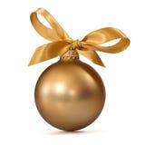 De gouden bal van Kerstmis Stock Foto