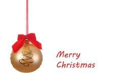De gouden bal van Kerstmis met linten Royalty-vrije Stock Afbeeldingen