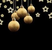 De gouden ballen van Kerstmis royalty-vrije stock afbeelding