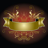 De gouden banner met bloeit Royalty-vrije Stock Afbeeldingen