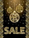 De gouden banner van de de winterverkoop, vector Stock Fotografie