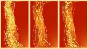 De gouden banners van Kerstmis. stock illustratie