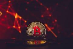 De gouden Bitcoin-donkerrode achtergrond van cryptocurrencymuntstukken Royalty-vrije Stock Foto's