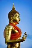 De gouden Blauwe achtergrond van Boedha Royalty-vrije Stock Afbeeldingen