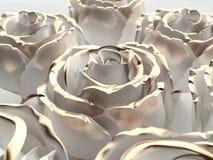 De gouden bloem witte steen nam op een whitebackground toe 3d geef terug Stock Foto's