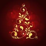 De gouden boom van Kerstmis stock illustratie