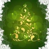 De gouden boom van Kerstmis vector illustratie