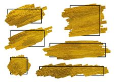 De gouden borstel stookt textuur op witte achtergrond met kader op Stock Afbeelding
