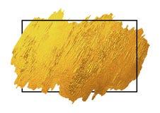 De gouden borstel stookt textuur op witte achtergrond met lijnkader op Stock Afbeelding